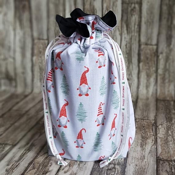 Eco-Friendly Fully Lined Reusable Christmas Gift Bag Storage Bag   Gnome Gonk Kind Shop 2