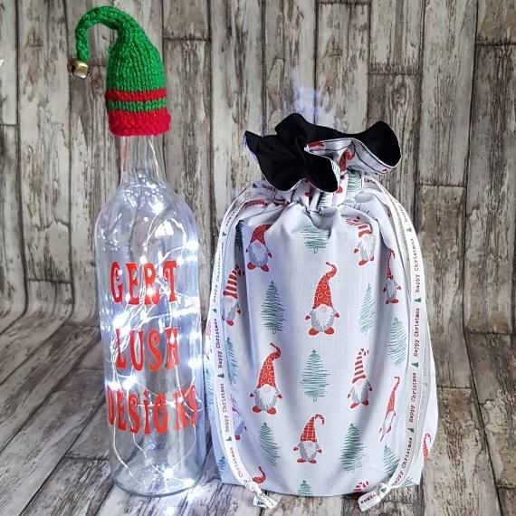 Eco-Friendly Fully Lined Reusable Christmas Gift Bag Storage Bag   Gnome Gonk Kind Shop 3