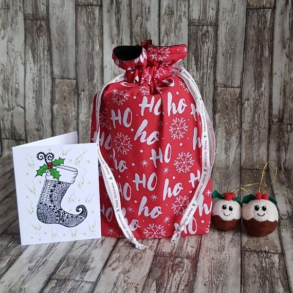 Eco-Friendly Fully Lined Reusable Christmas Gift Bag Storage Bag | Ho Ho Ho Print Kind Shop