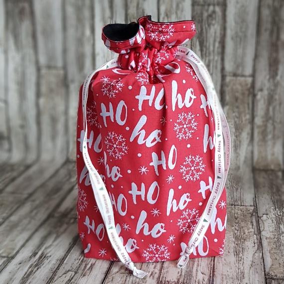 Eco-Friendly Fully Lined Reusable Christmas Gift Bag Storage Bag | Ho Ho Ho Print Kind Shop 2
