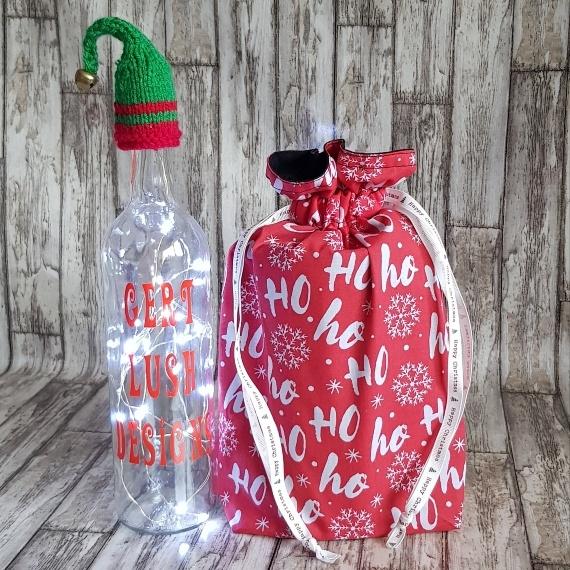 Eco-Friendly Fully Lined Reusable Christmas Gift Bag Storage Bag | Ho Ho Ho Print Kind Shop 3