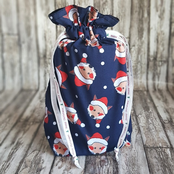Eco-Friendly Fully Lined Reusable Christmas Gift Bag Storage Bag | Foxy Santa Kind Shop 2