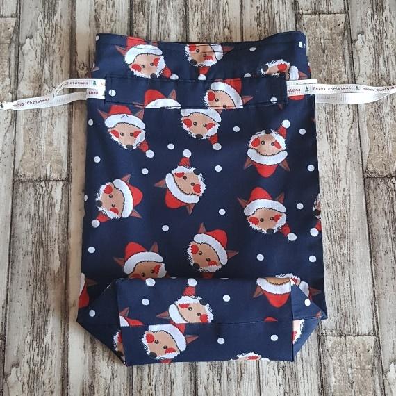 Eco-Friendly Fully Lined Reusable Christmas Gift Bag Storage Bag | Foxy Santa Kind Shop 5