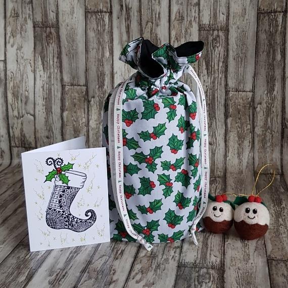 Eco-Friendly Fully Lined Reusable Christmas Gift Bag Storage Bag   Holly Print Kind Shop