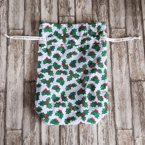 Eco-Friendly Fully Lined Reusable Christmas Gift Bag Storage Bag   Holly Print Kind Shop 4