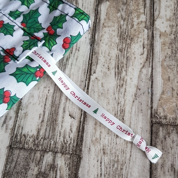 Eco-Friendly Fully Lined Reusable Christmas Gift Bag Storage Bag   Holly Print Kind Shop 6