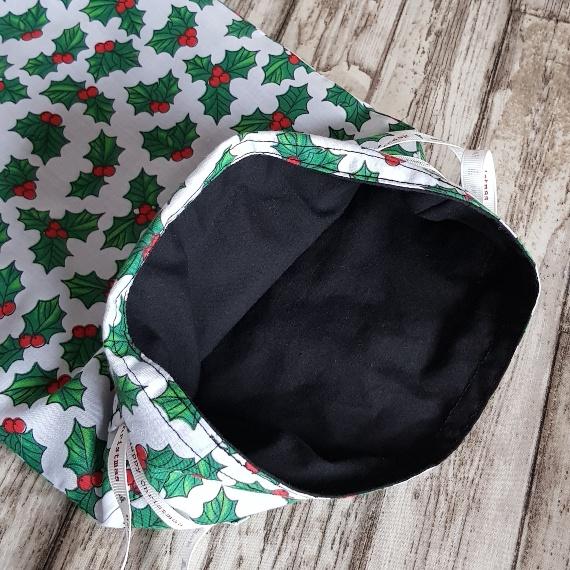 Eco-Friendly Fully Lined Reusable Christmas Gift Bag Storage Bag   Holly Print Kind Shop 7