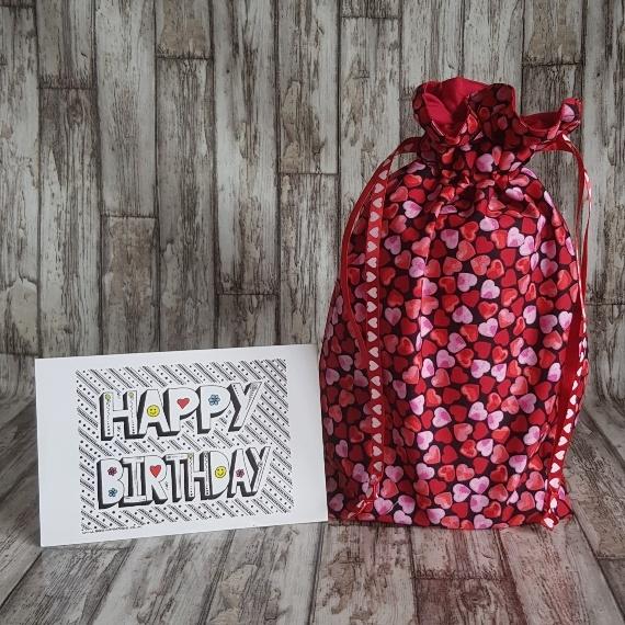 Eco Friendly Reusable Drawstring Gift Bag / Storage Bag   Red And Pink Hearts Kind Shop 2