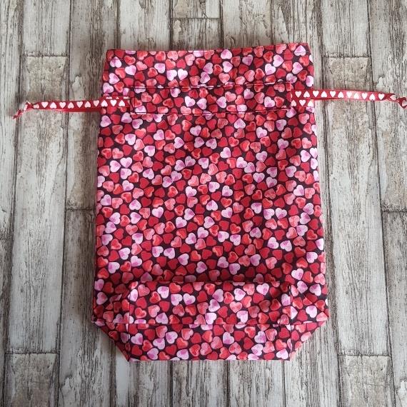 Eco Friendly Reusable Drawstring Gift Bag / Storage Bag   Red And Pink Hearts Kind Shop 5