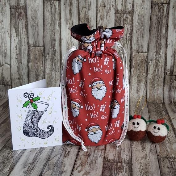 Eco-Friendly Fully Lined Reusable Christmas Gift Bag Storage Bag | Santa Print Kind Shop