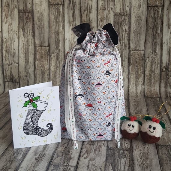 Eco-Friendly Fully Lined Reusable Christmas Gift Bag Storage Bag   Snowman Faces Kind Shop