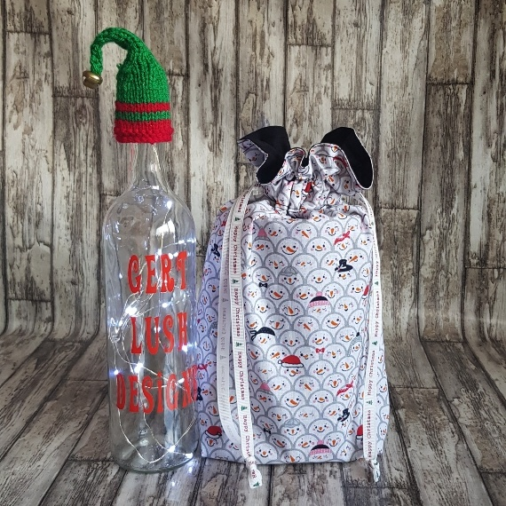 Eco-Friendly Fully Lined Reusable Christmas Gift Bag Storage Bag   Snowman Faces Kind Shop 3