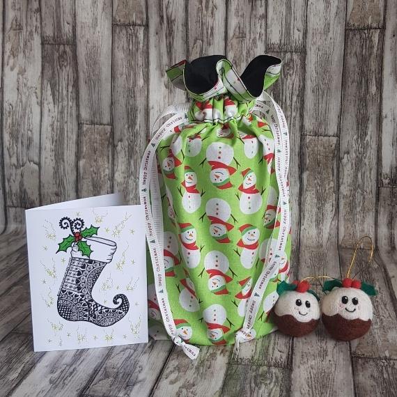 Eco-Friendly Fully Lined Reusable Christmas Gift Bag Storage Bag | Snowmen Kind Shop