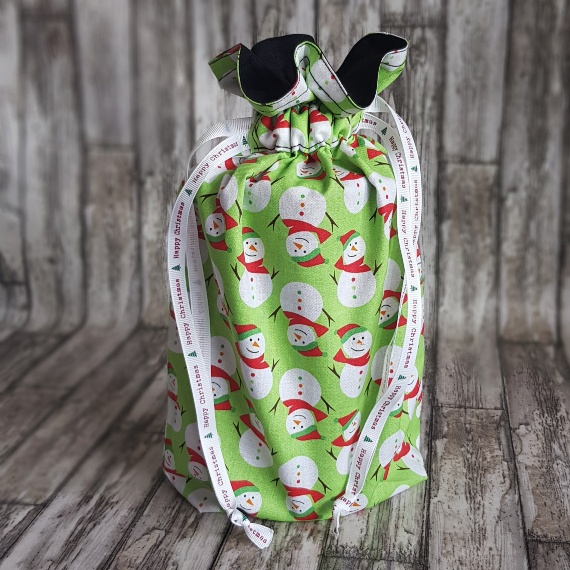 Eco-Friendly Fully Lined Reusable Christmas Gift Bag Storage Bag | Snowmen Kind Shop 2
