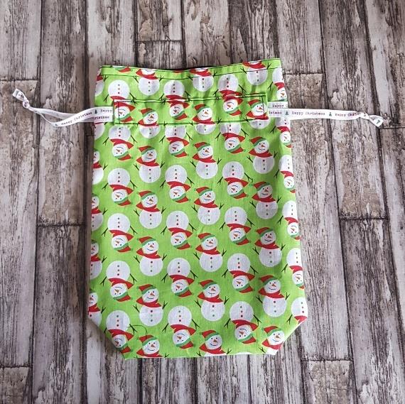 Eco-Friendly Fully Lined Reusable Christmas Gift Bag Storage Bag | Snowmen Kind Shop 4