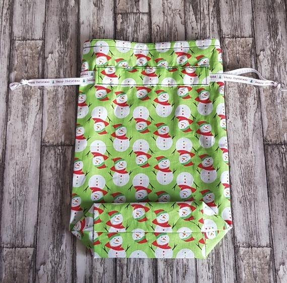 Eco-Friendly Fully Lined Reusable Christmas Gift Bag Storage Bag | Snowmen Kind Shop 5