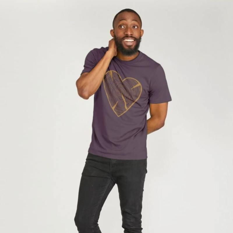 Unisex NATURE HEART ADVENTURE Organic Cotton T-shirt purple
