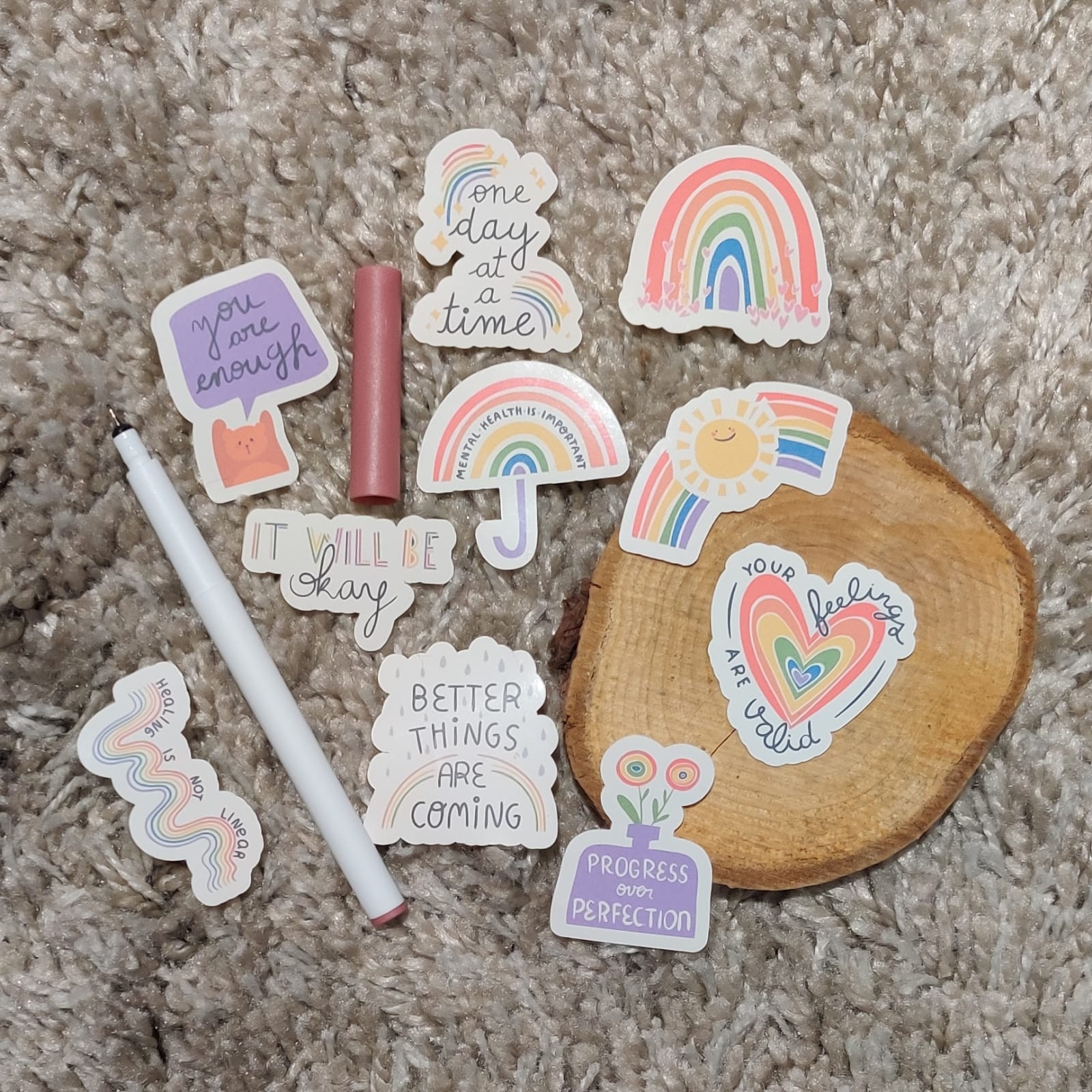 Rainbow Mental Heath Stickers | Mental Health Support | Positive Reminder | Encouragement | Positive Stickers | Anxiety | Charity Donation Kind Shop