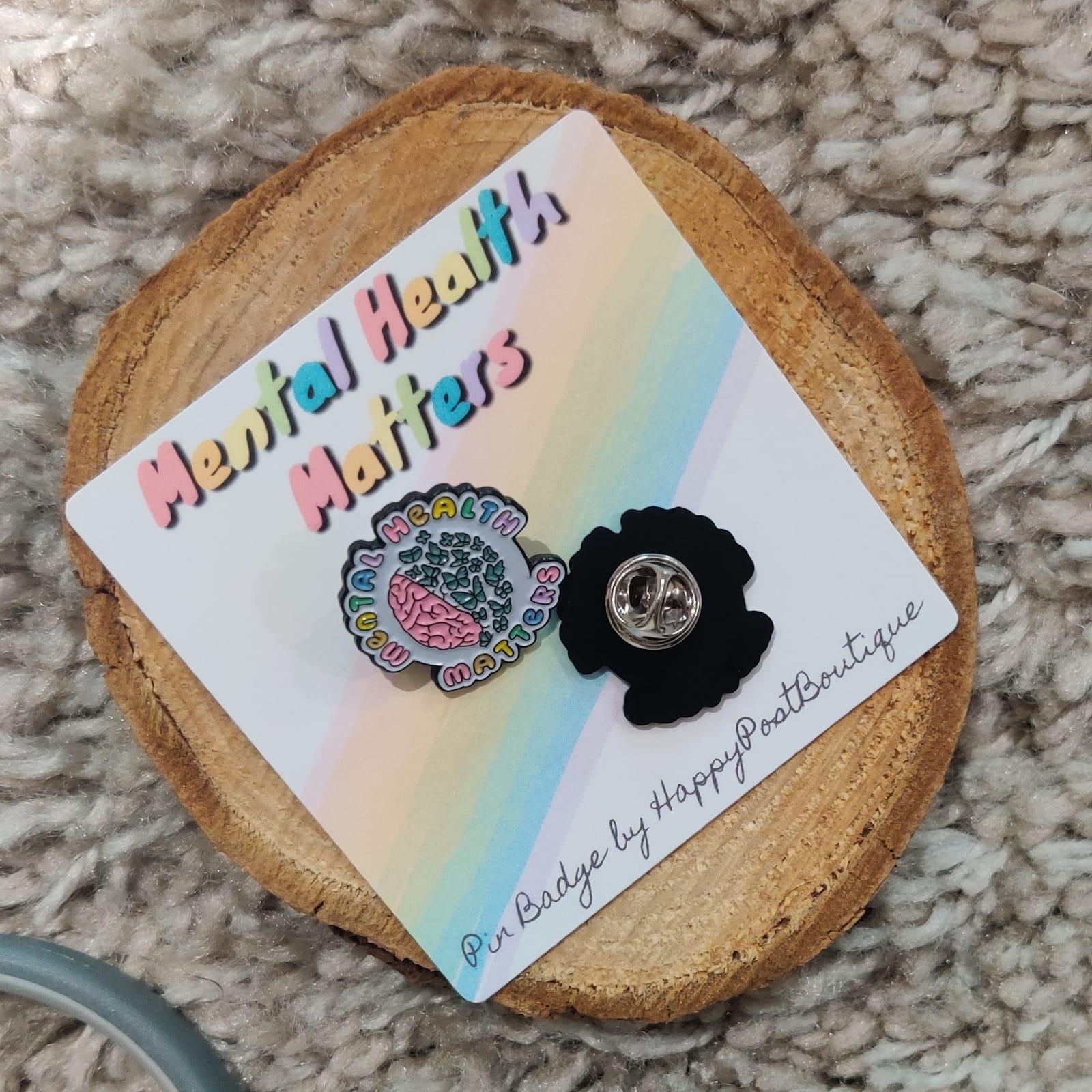 Mental Health Matters Enamel Pin Badge | Mental Health Support Pin | Mental Health is Important| Anxiety | Positivity Pin | Charity Donation Kind Shop