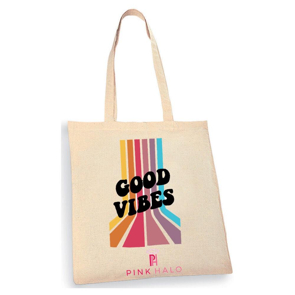 Eco- Good Vibes Retro Tote Bag Kind Shop
