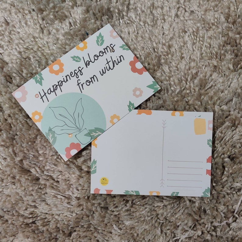 Floral Post Cards | Positive Post Cards | Cute Post Cards | Mental Health Support | Positive Reminder | Encouragement |Charity Donation Kind Shop 5