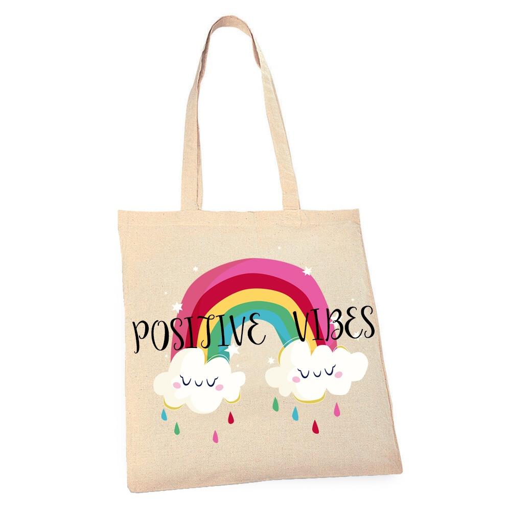 Eco – Rainbow Positive Vibes Tote Bag Kind Shop