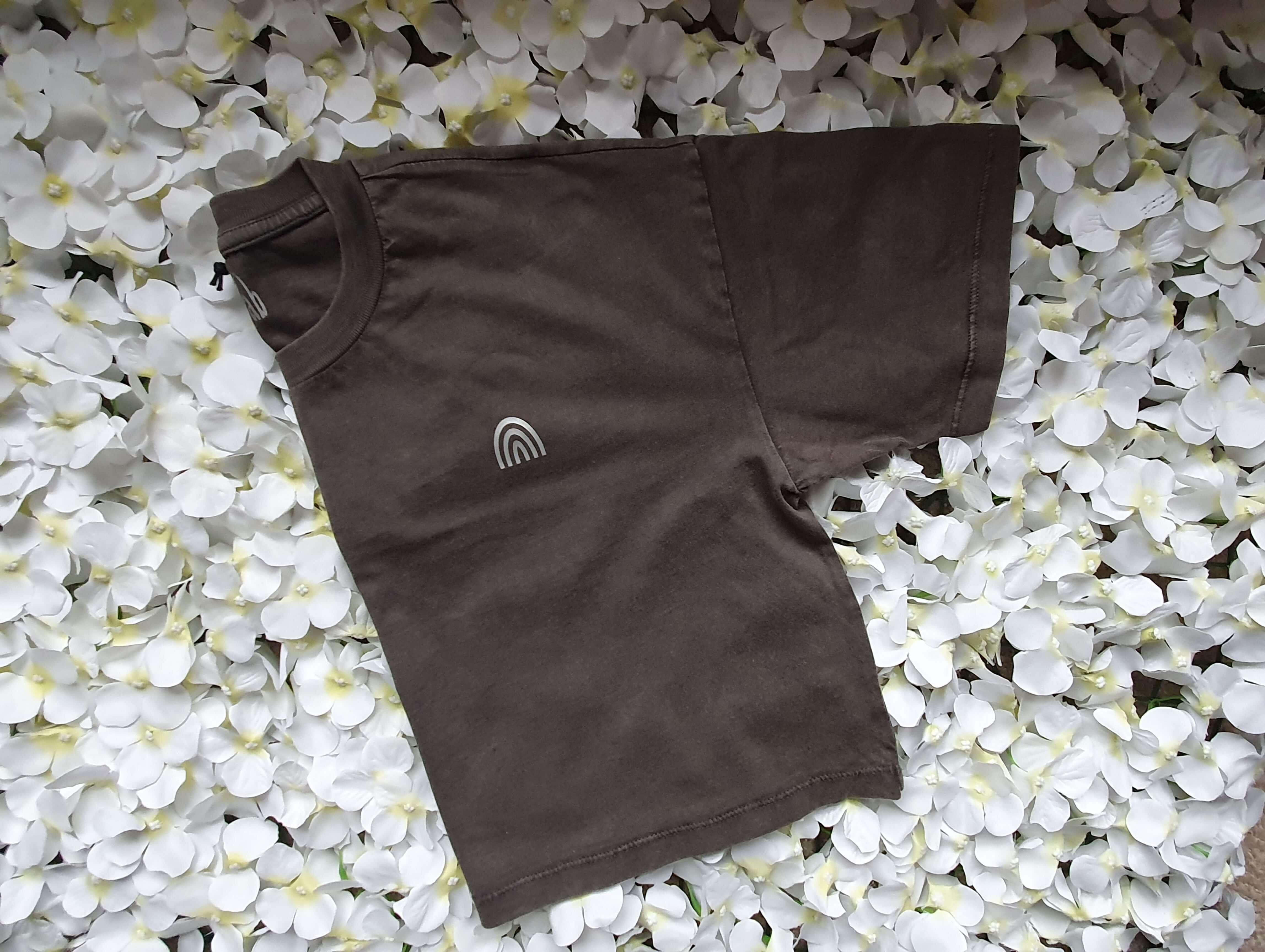 Organic Cotton Cropped Stonewash Grey T-Shirt with CottonCrab Rainbow Logo Kind Shop