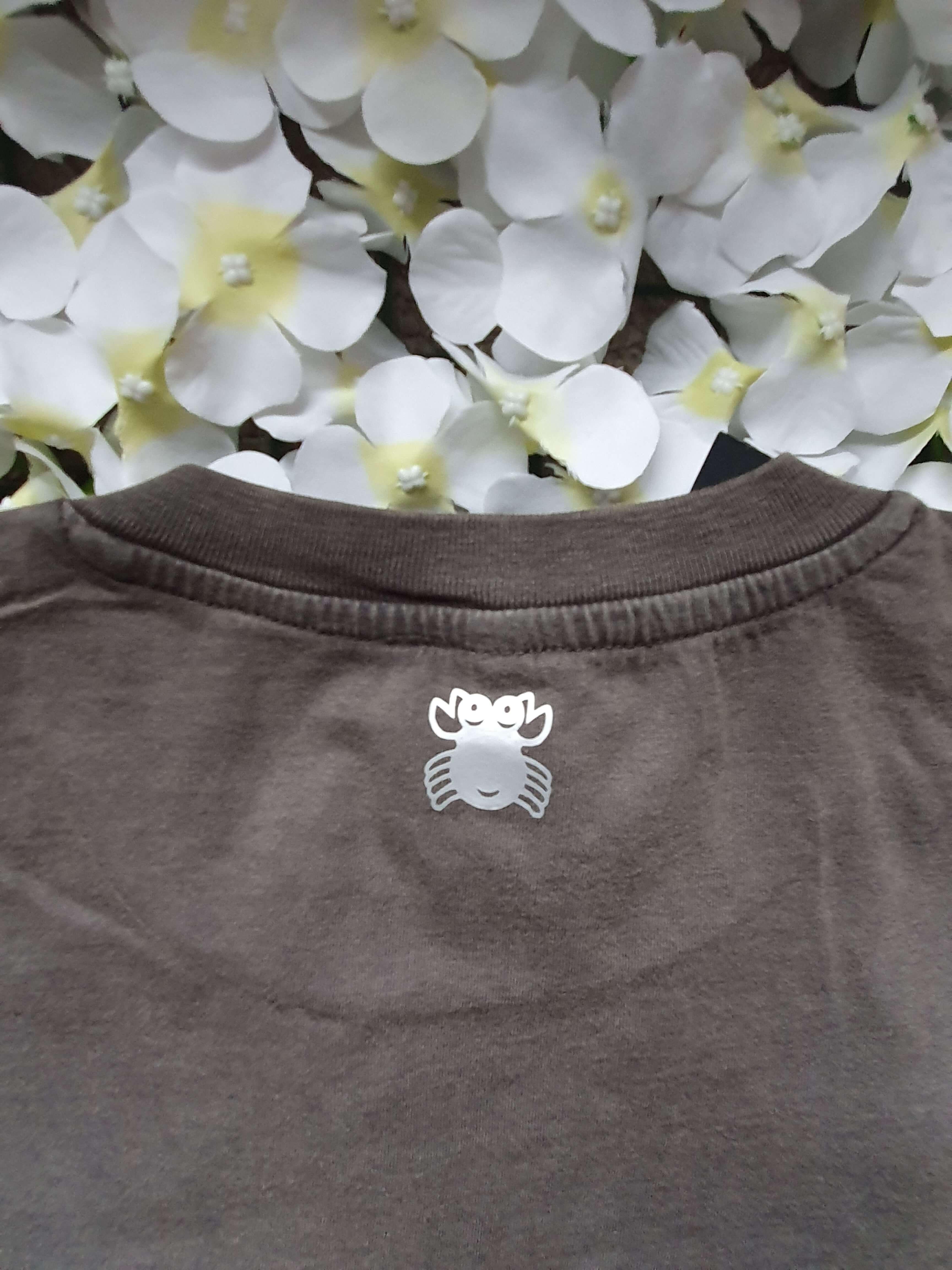 Organic Cotton Cropped Stonewash Grey T-Shirt with CottonCrab Rainbow Logo Kind Shop 2