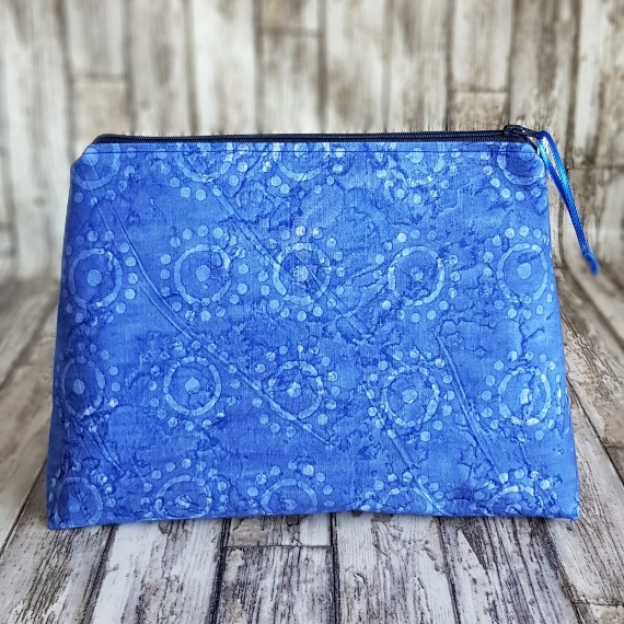 Recycled Fabric Make Up Bag, Open Wide Flat Bottom | Batik Sunshine Kind Shop