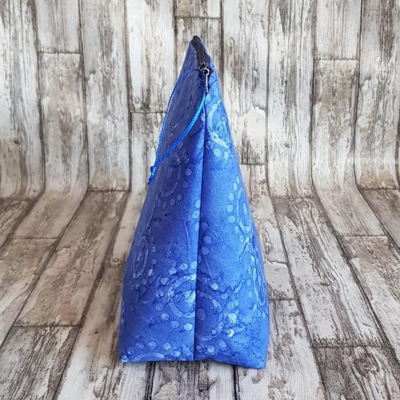 Recycled Fabric Make Up Bag, Open Wide Flat Bottom | Batik Sunshine Kind Shop 2