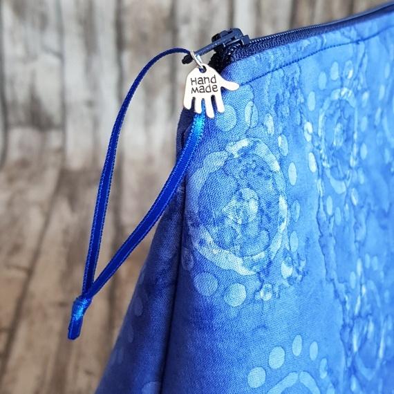 Recycled Fabric Make Up Bag, Open Wide Flat Bottom | Batik Sunshine Kind Shop 3