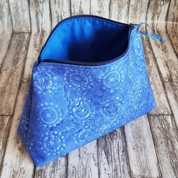 Recycled Fabric Make Up Bag, Open Wide Flat Bottom | Batik Sunshine Kind Shop 4
