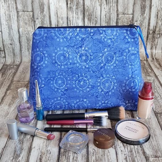 Recycled Fabric Make Up Bag, Open Wide Flat Bottom | Batik Sunshine Kind Shop 5