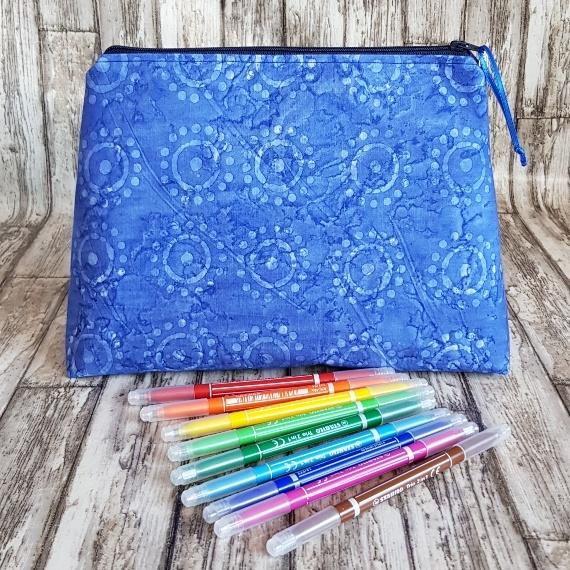 Recycled Fabric Make Up Bag, Open Wide Flat Bottom | Batik Sunshine Kind Shop 6