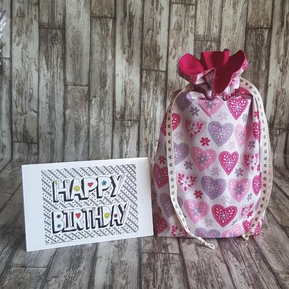 Eco Friendly Reusable Drawstring Gift Bag / Storage Bag | Hearts On White Kind Shop 2