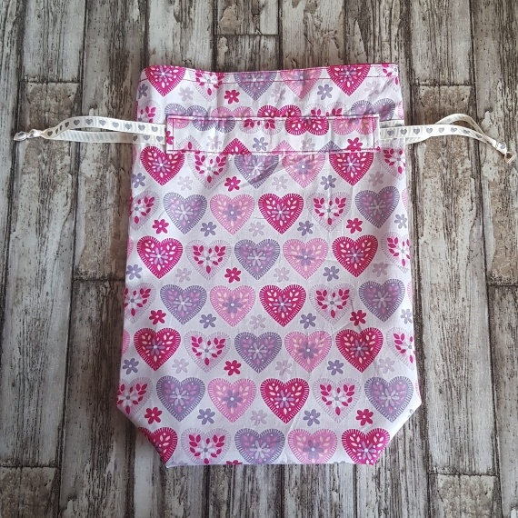 Eco Friendly Reusable Drawstring Gift Bag / Storage Bag | Hearts On White Kind Shop 5