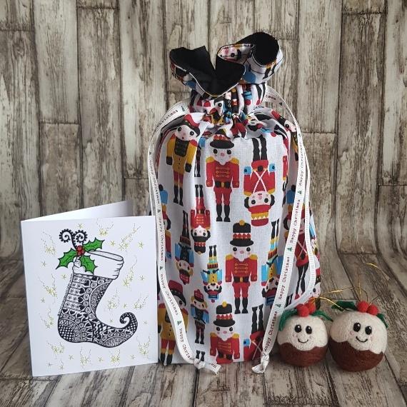 Eco-Friendly Fully Lined Reusable Christmas Gift Bag Storage Bag   Nutcracker Soldier Print Kind Shop
