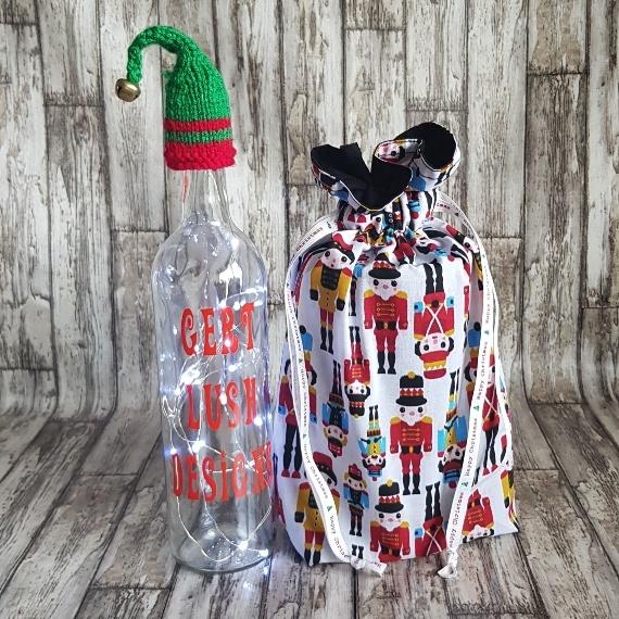 Eco-Friendly Fully Lined Reusable Christmas Gift Bag Storage Bag   Nutcracker Soldier Print Kind Shop 3