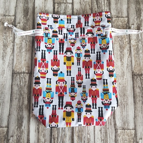 Eco-Friendly Fully Lined Reusable Christmas Gift Bag Storage Bag   Nutcracker Soldier Print Kind Shop 4
