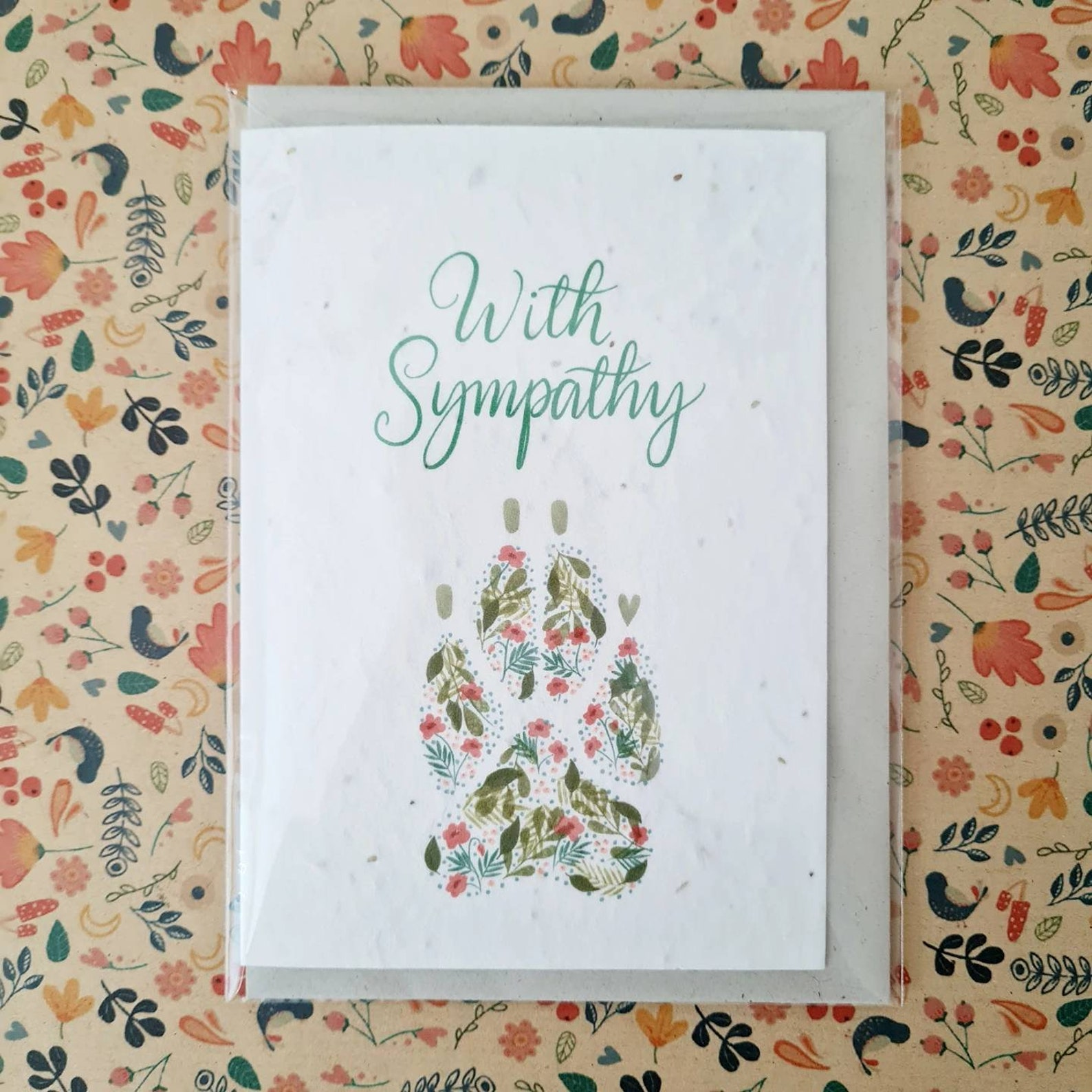 Plantable Wildflower Pet Sympathy Seed Card With Dog Paw Print