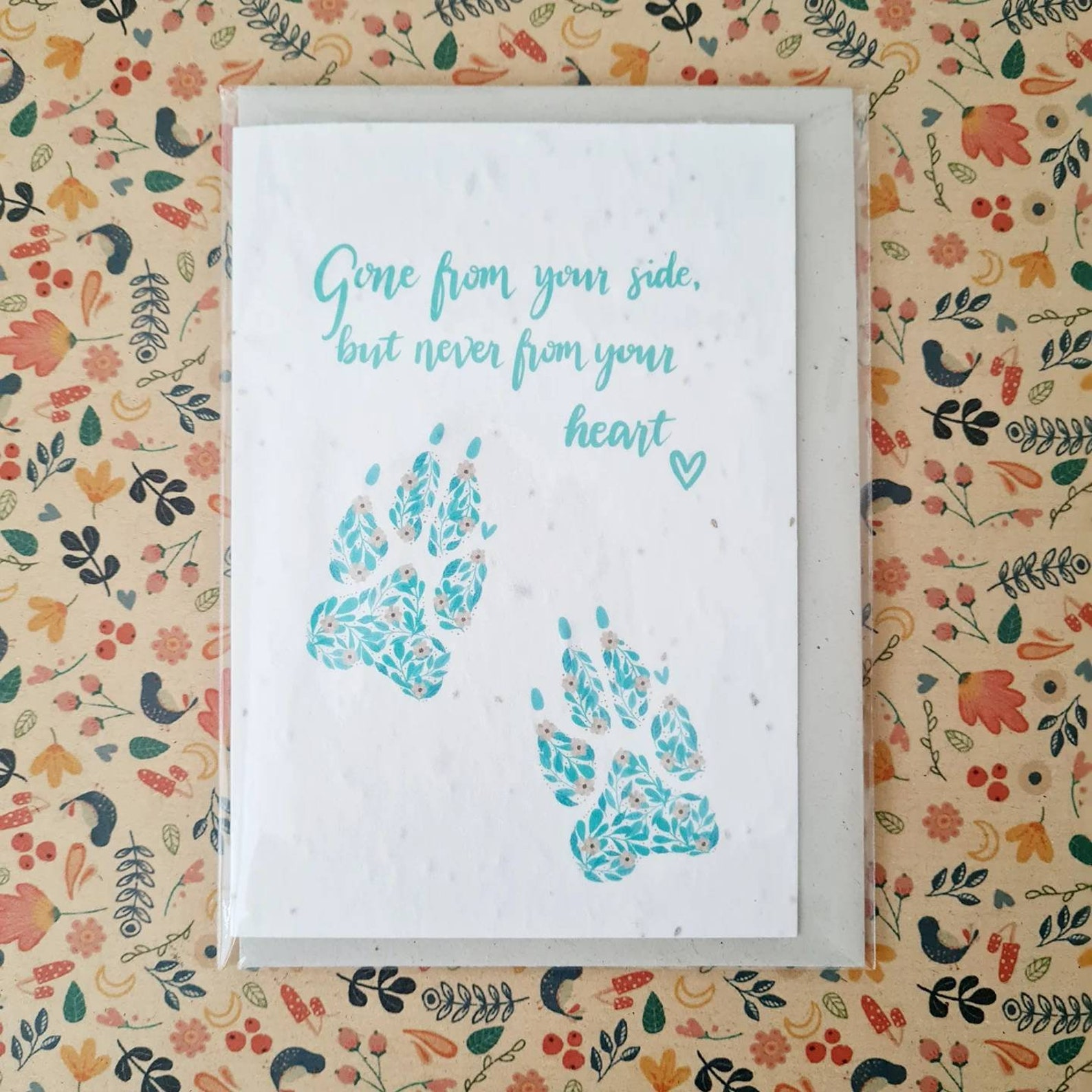 Plantable Wildflower Pet Sympathy Seed Card With Dog Paw Prints 'Gone From Your Side' - Bee and Eco Friendly