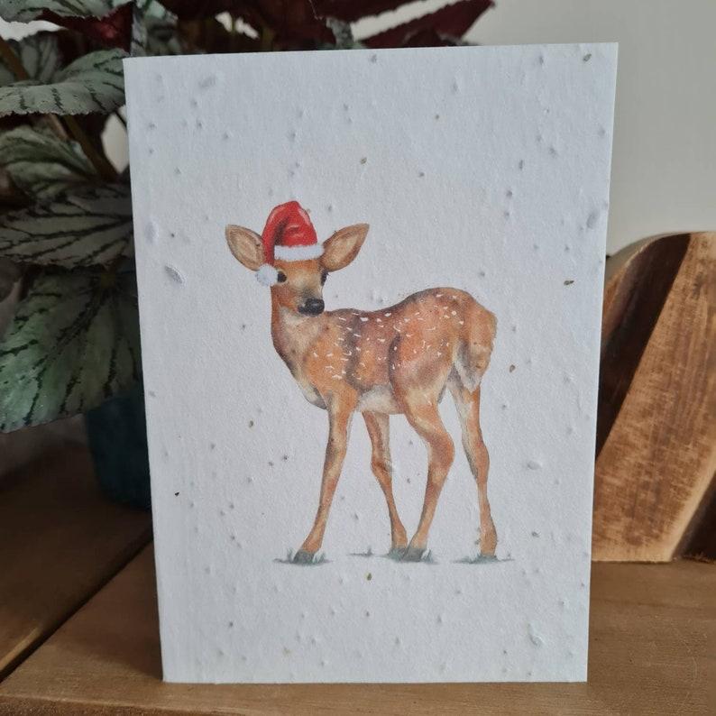 Plantable Wildflower Seed Christmas Card With Deer, Fawn, Reindeer