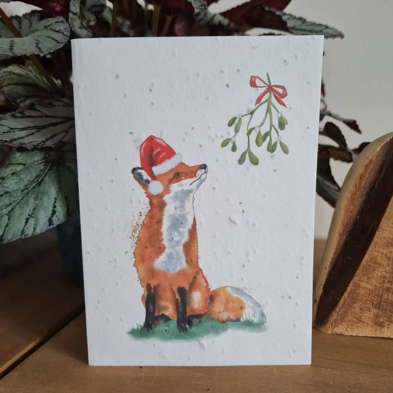 Plantable Wildflower Seed Christmas Card With Santa Fox - Bee and Eco Friendly