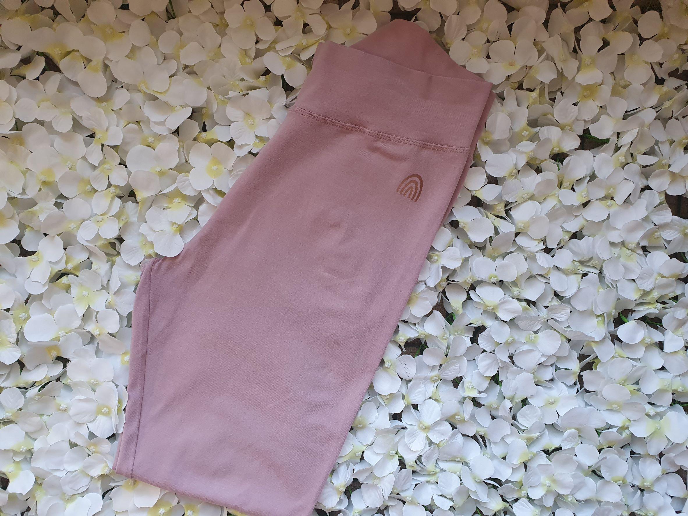 Organic Cotton Stretch Purple Rose Leggings With CottonCrab Rainbow Logo Kind Shop