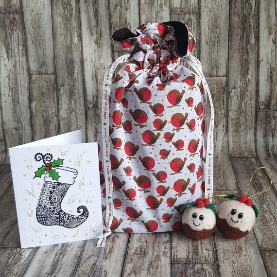Eco-Friendly Fully Lined Reusable Christmas Gift Bag Storage Bag | Robins Print Kind Shop