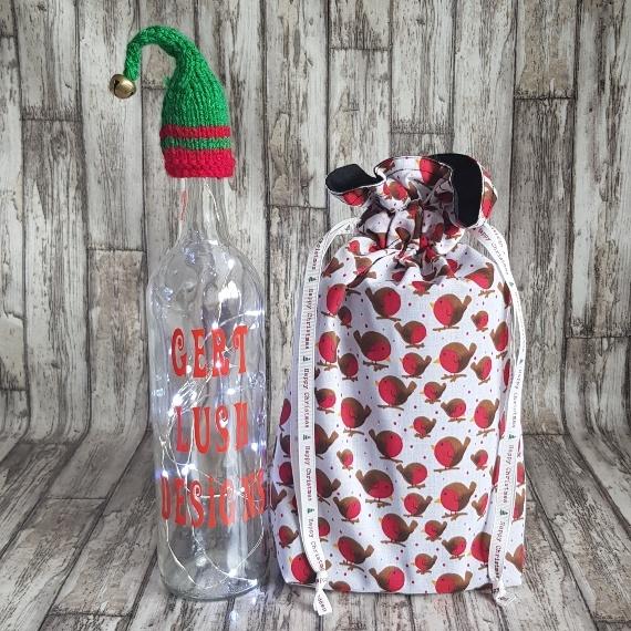 Eco-Friendly Fully Lined Reusable Christmas Gift Bag Storage Bag | Robins Print Kind Shop 3