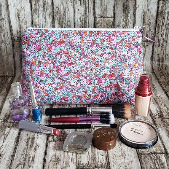 Recycled Fabric Make Up Bag, Open Wide Flat Bottom | Small Flower Print Kind Shop 5
