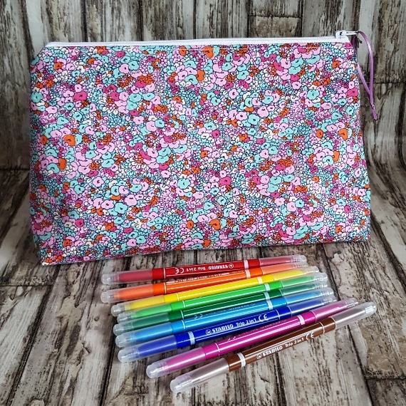 Recycled Fabric Make Up Bag, Open Wide Flat Bottom | Small Flower Print Kind Shop 6