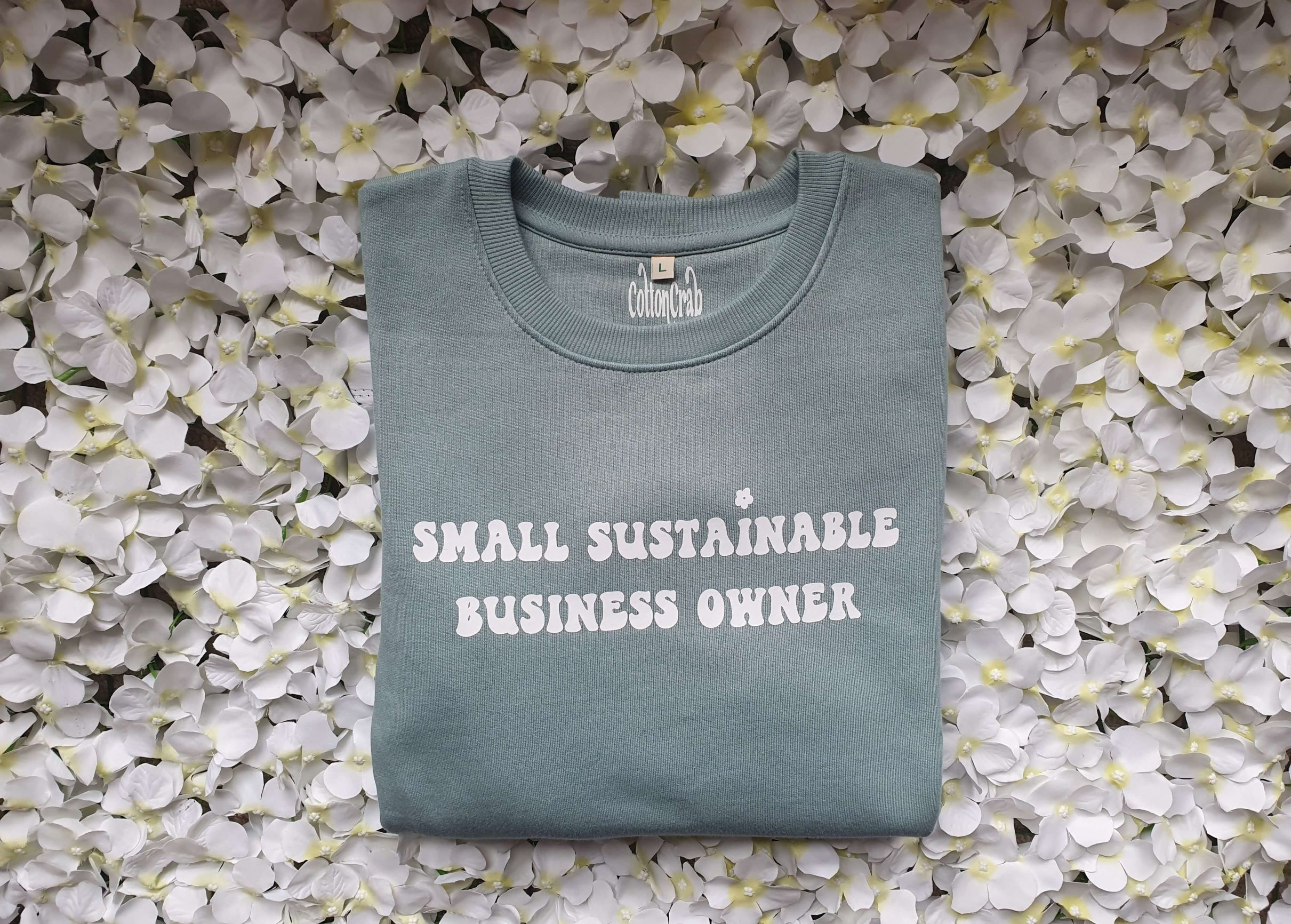 Organic Cotton Slate Green Small Sustainable Business Owner Sweatshirt Kind Shop