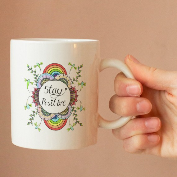 Stay Positive – Standard Sized White Mug With Positive Quote Kind Shop